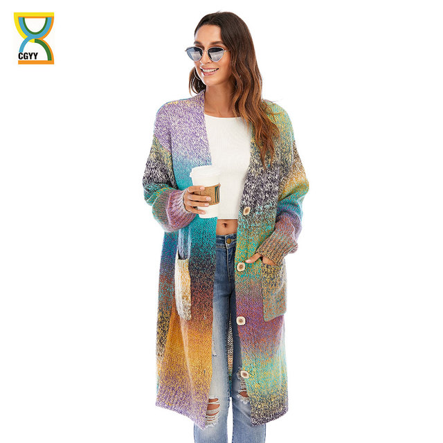 CGYY Women's Lightweight Rainbow Color Striped  Loose Causal  Long Sleeve Open Front Breathable Cardigans Sweater With Pockets