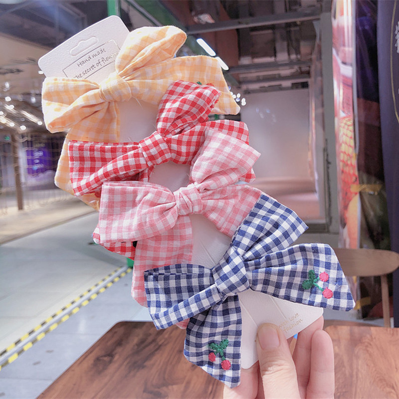 2020 Spring New Korea Simple Personality Embroidery Cherry Plaid Fabric Bow Duckbill Clip Fashion Girl Princess Hair Accessories