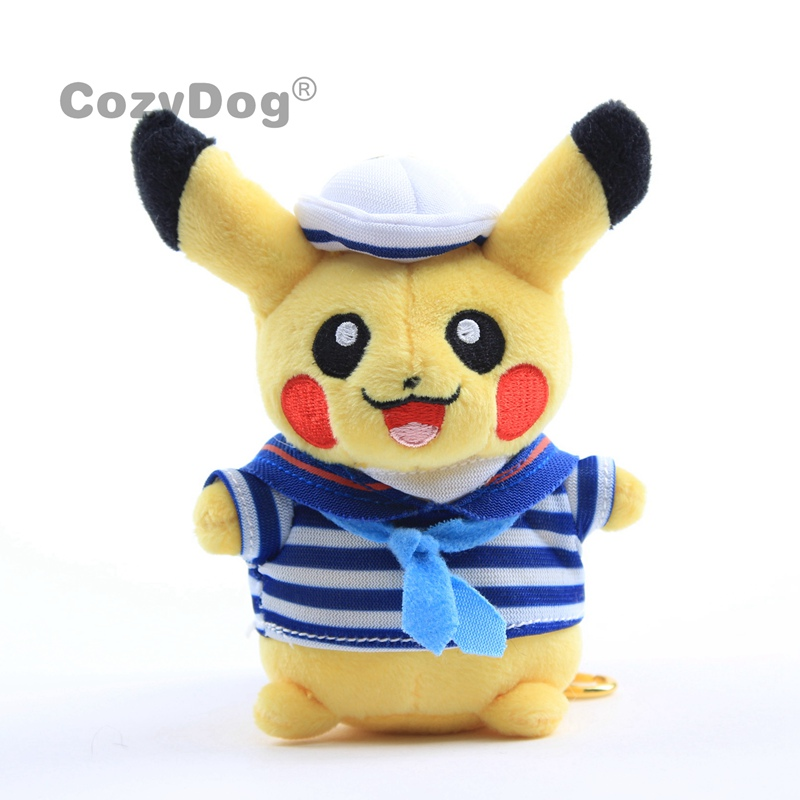 13 CM recién llegados Pikachu Cosplay figura de la Marina Anime adorable Pikachu juguetes de Peluche muñeca Peluche mujeres niños regalo de cumpleaños
