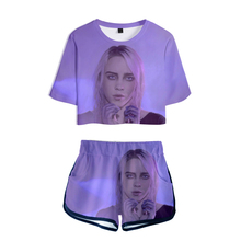 Hot Arrive Billie Eilish 3D Exposed Navel T shirt+shorts women's/girl's two-piece sets Summer Hip Hop casual 3D pretty clothing