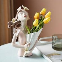 Borboleta menina resina escultura personagem modelo vaso moderno casa decoração sala de estar quarto bancada vaso presente nórdico decoração casa