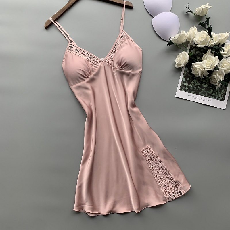2019 New Stain Women Nightdress V Lead Sexy Lace Nightwear Spaghetti Strap Nightgown 1