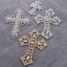 1 шт кросс-shape форме, благодаря чему создается ощущение невесомости с блестящие Кристальные Стразы для аппликации золото для обуви джинсы украшениями качественные Крест стекло камень