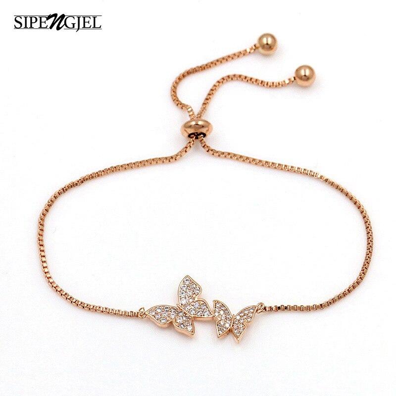 Женский Классический Браслет-бабочка SIPENGJEL, 3 цвета металла, с регулируемой цепочкой, вечерние ювелирные изделия, подарки