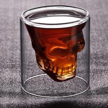 Стакан для виски, текилы, веселые, креативные, вечерние, для вина, пива, питьевой чашки, Череп, стеклянная кружка, Хрустальная пивная кружка