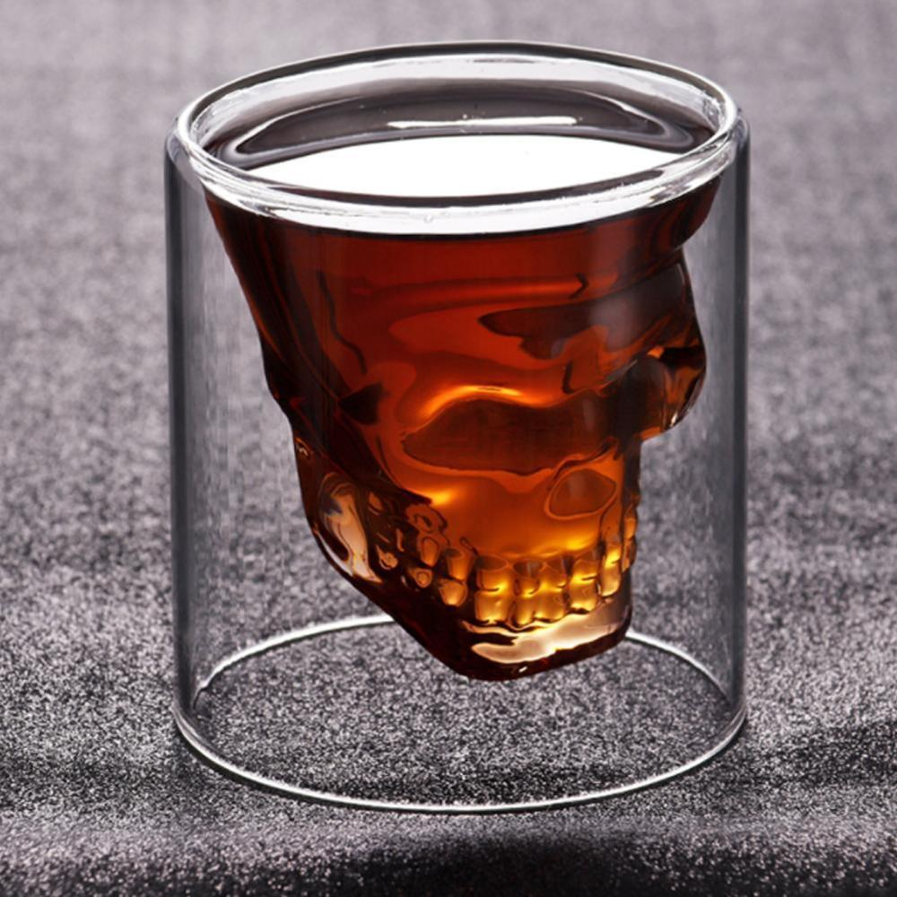 Whiskey Tequila Glass Fun Creative Party Wine Beer Drinking Cup Skull Sake Glass Mug Crystal Beer Mug Trait glass Skeleton situa|Mugs| |  - title=