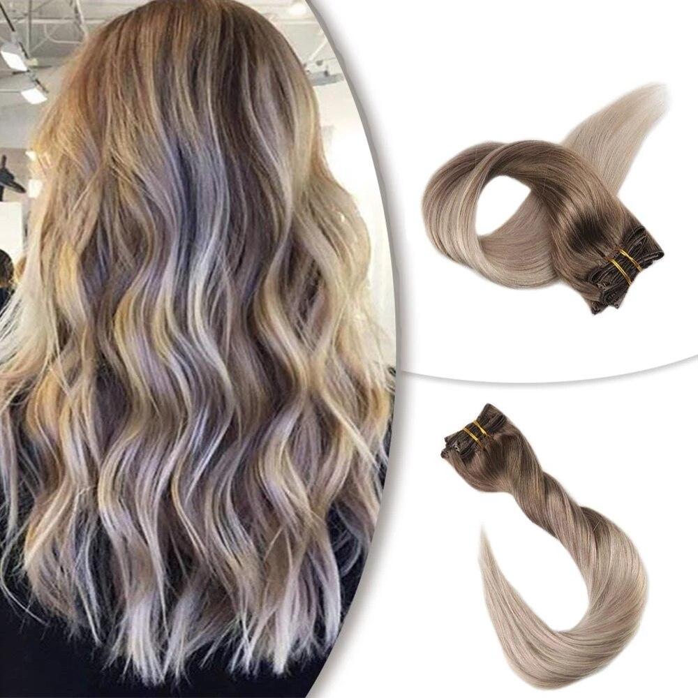 Brilho completo grampo em extensões de cabelo cor balayage 10 pçs 120g por pacote completo cabeça dupla trama 100% remy cabelo humano clipe ins