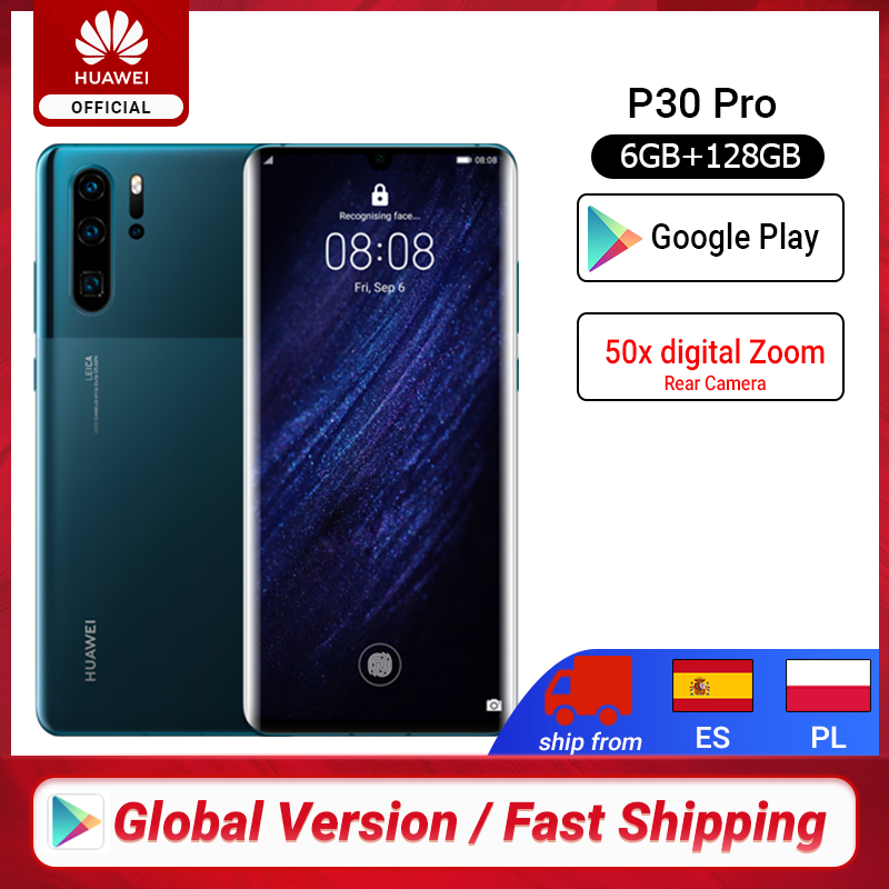 Global Version Huawei P30 Pro Smartphone 50x Digital Zoom 6GB 8GB 256GB Quad Camera 6.47'' Full Screen OLED Kirin 980  NFC