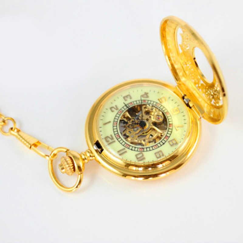 دروبشيبينغ ريترو جيب الساعات القديمة الرجال الذهبي سلسلة قلادة فوب الساعات الميكانيكية اليد الرياح الذكور الهيكل العظمي الساعات مضيئة
