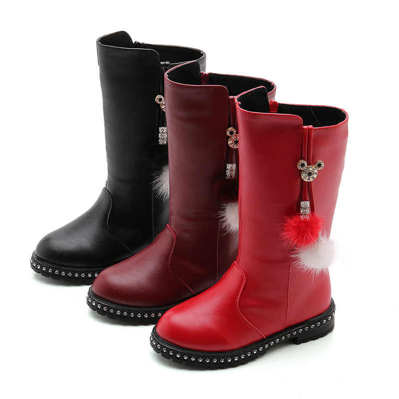 Princess Fashion Rhinestone Flower Winter Boots Kids Long Boots For Big Girl Snow Boots Children Shoe 4 5 6 7 8 9 10 11 12 Years