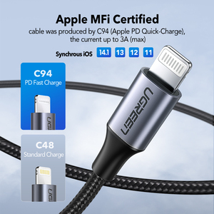 Image 3 - كابل USB C إلى Lightning من UGREEN لهاتف iPhone 12 mini Pro Max PD18W 20 واط كابل شحن سريع لنقل البيانات PD لهاتف MacBook iPad Pro USB