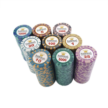 Texas-Hold'em-Poker-Set Card-Chips Clay Crown-Game Playing Coin-Baccarat 14g for 11-Colors