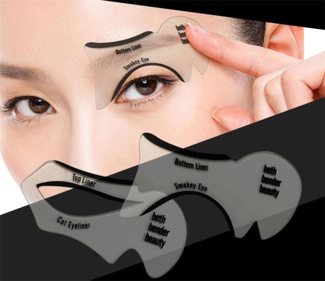 New 200sets/lot 2pcs Pro Eyeliner Stencils Winged Eyeliner Stencil Models Template Shaping Tools Eyebrows  Card Eye Shadow