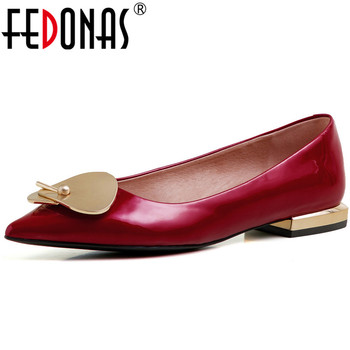 FEDONAS Fashion 2020 Women Cow Patent Leather Shoes Point Toe Square Heels 2020 Spring New Metal Decoration Party Shoes Woman