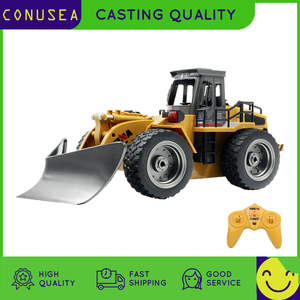 HUINA 1/18 RC Truck Snow Plow 2.4Ghz Radio Controlled Car Caterpillar Alloy Tractor Model Engineering Cars Excavator Toy For Boy