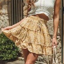 Casual bohemian Floral Printed Ruffle Women Skirt Elastic Lace up high Waist Skirt Summer Holiday Beach Skirts Bottom self belt ruffle waist high split skirt