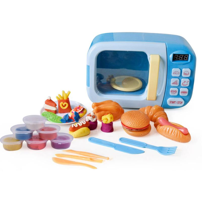 Pretend Playing Children Colorful Plasticine Set Simulation Small Appliances Microwave Oven Tableware Kitchen Utensils Toys