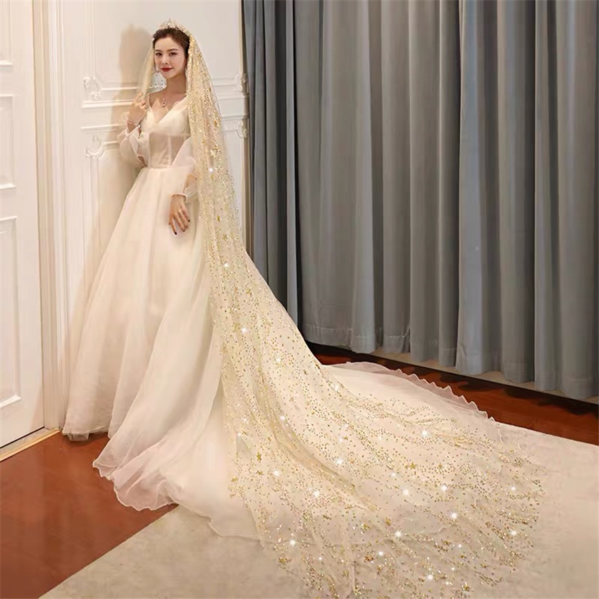 Popular Bling Bling Long Bridal Veils With Comb White Champagne One-Layer Wedding Cathedral Veil Glitter Moon Stars 3Meters