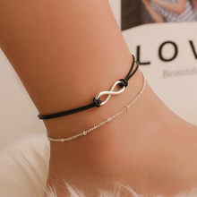 цена на Simple Silver Anklet Infinity Bead Charm Anklet Fashion Summer Beach Ankle Jewelry On Foot Anklet Bracelet For Women Leg Chain