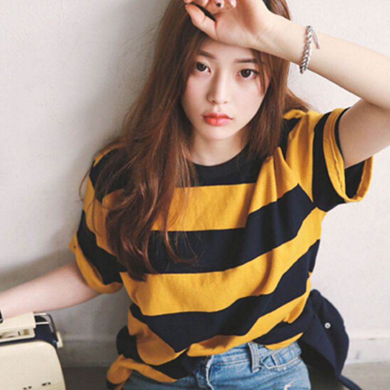 Women Yellow And Black Striped Round Neck Collar Loosen Half Sleeve T-Shirt  Casual Tops