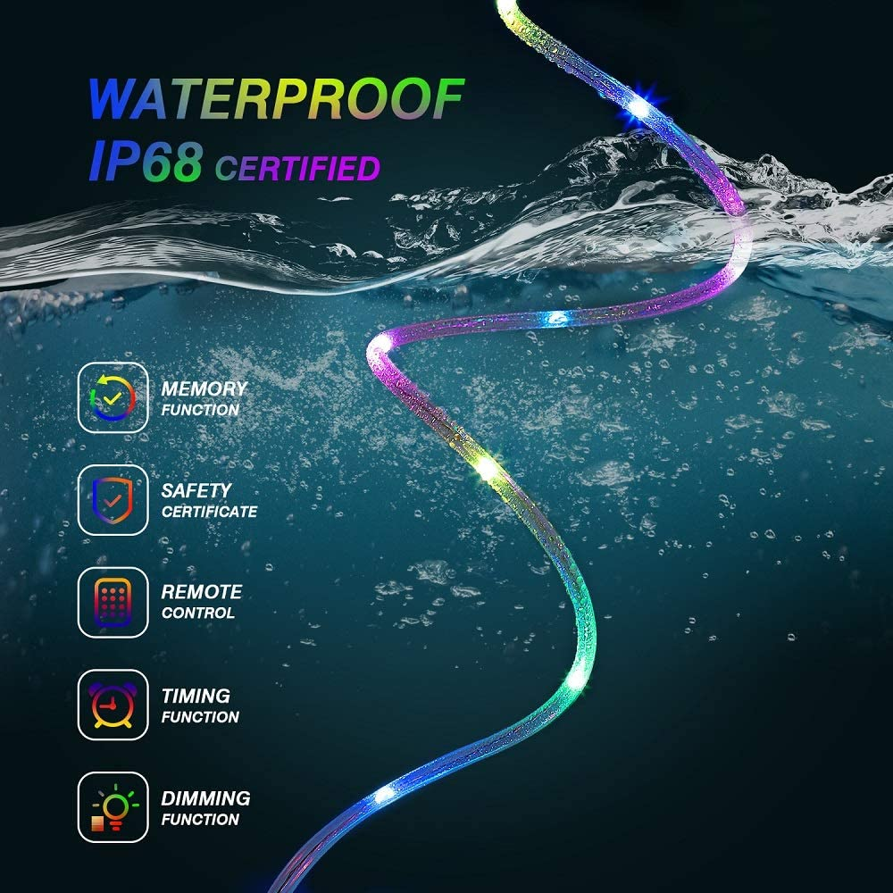 LED Rope Lights RGB Color Changing String Lights With 4 Modes 16Colors USB Powered Rope Tube Light With Remote Waterproof Party