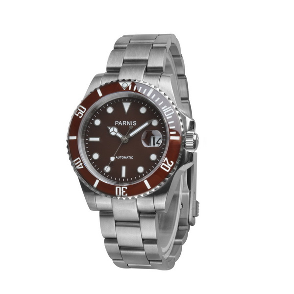 <font><b>Parnis</b></font> <font><b>40mm</b></font> brown Bezel Men Automatic Mechanical <font><b>Watch</b></font> Ceramic Diver Steel Miyota 8215 Movement Mens <font><b>Watches</b></font> marque de luxe 2019 image