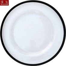 Прозрачная стеклянная тарелка с золотым дизайном декоративная