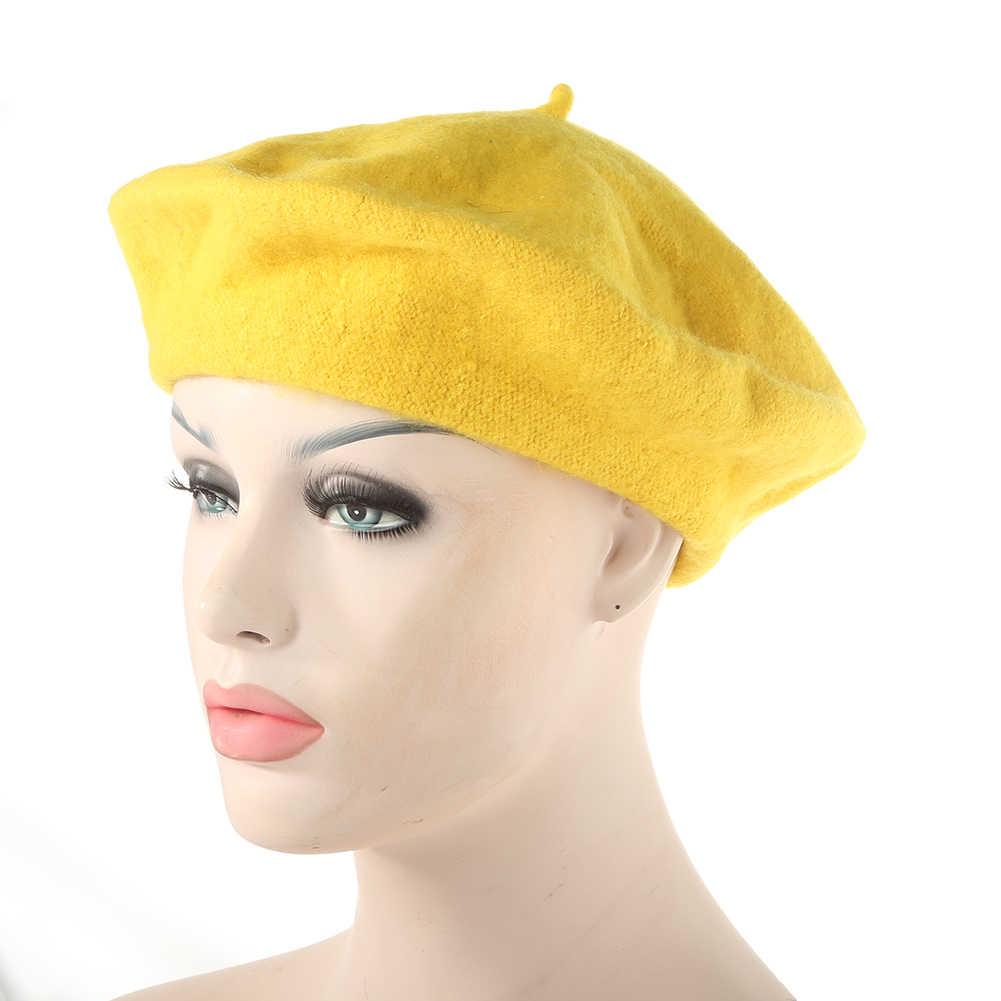 قبعة النساء فتاة بلون الشتاء الدافئة محبوك القبعات الفرنسية الفنان قبعة صغيرة قبعة تزلج السنة الجديدة الهدايا Boinas Mujer