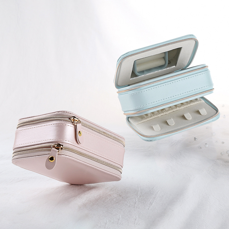 Multi Layer Makeup Organizers Women Cosmetics Holder Case Jewelry Necklace Rings Display Collection Box With Mirror Accessories