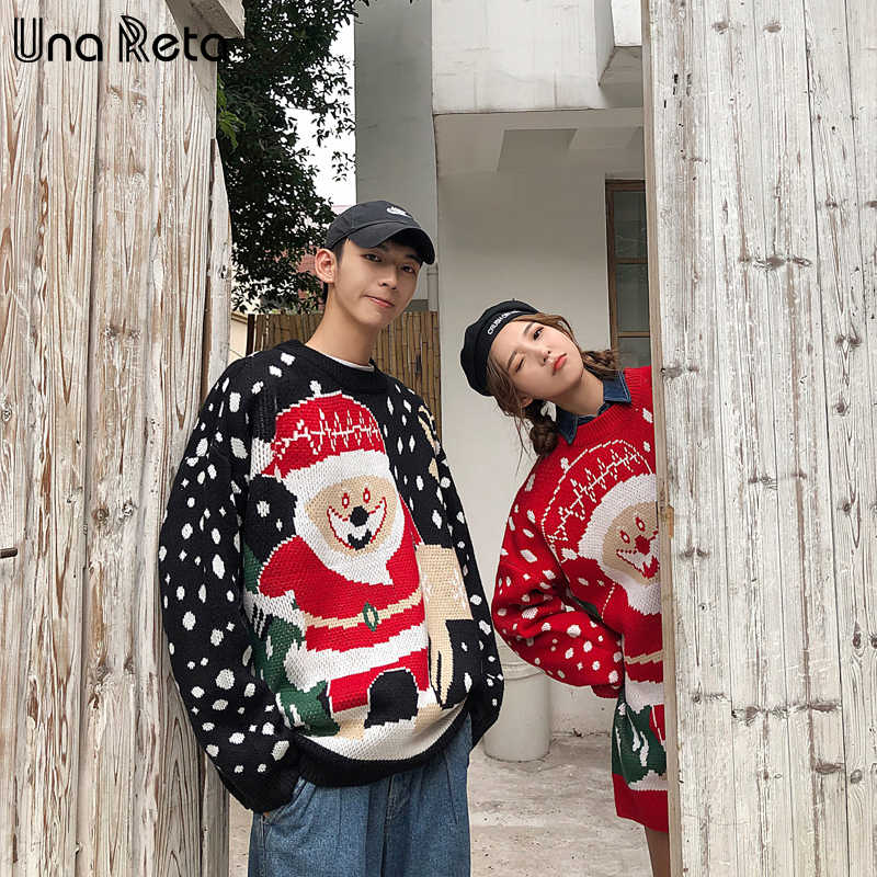 Una Reta Christmas Men Sweater New Autumn Winter Lover Print Santa Claus Pullover Men's Sweater Pull Homme Loose Sweater Men