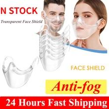 1-10pcs Anti Fog Transparent Masks Face Shield for Adult Dustproof Mouth Cap Reusable Washable Clear Transparent Protective Mask