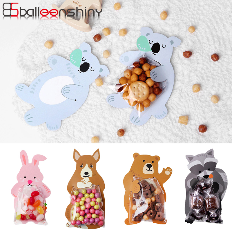 BalleenShiny 10pcs Candy Bags Cartoon Rabbit Koala Fox Cookie Nuts Snack Neaten Organizer Lovely Gadgets Pocket Party Decoration stuffed toy