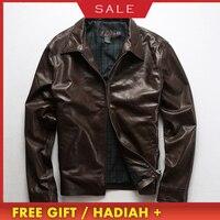 2020 High Quality Genuine Leather Jackets Men's Autumn Winter Sheepskin Casual Business Coats Large Size Zipper Warm Jacket