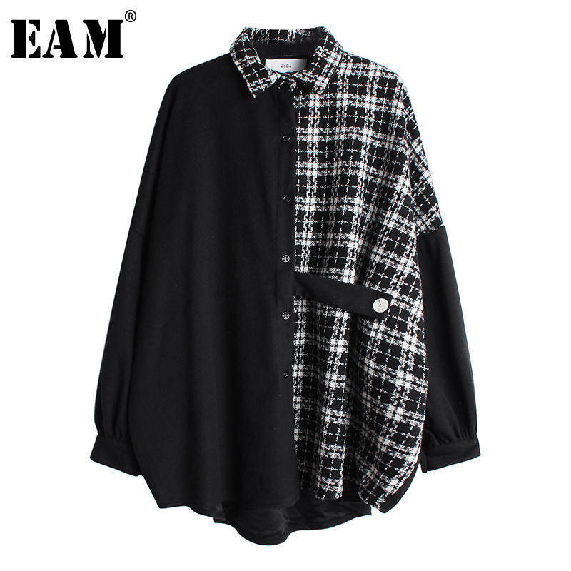 [EAM] Women Tweed Plaid Split Big Size Blouse New Lapel Long Sleeve Loose Fit Shirt Fashion Tide Spring Autumn 2020 19A-a46