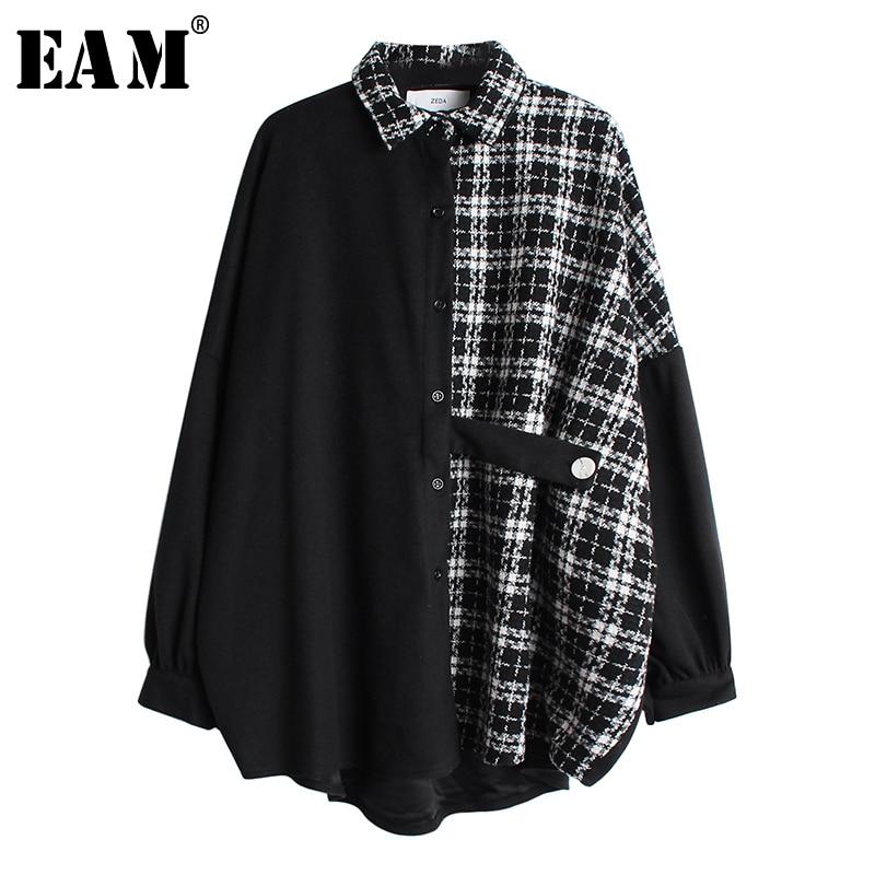 [EAM] Women Tweed Plaid Split Big Size Blouse New Lapel Long Sleeve Loose Fit Shirt Fashion Tide Spring Autumn 2020 19A-a46
