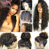 360 perruque frontale en dentelle Elva cheveux bouclés perruques de cheveux humains pour les femmes noires 150%/180%/250% densité Remy cheveux pré plumés avec des cheveux de bébé