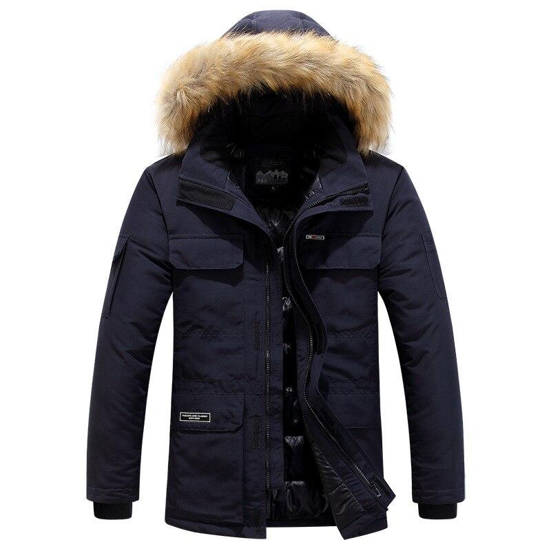 Grande taille mi longue veste d'hiver hommes coupe vent épais chaud col de fourrure hommes Parkas multi poches Outwear classique nouveaux manteaux - 2