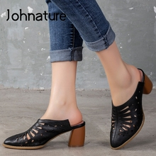 Johnature Summer Slippers Genuine Leather Women Shoes 2020 N