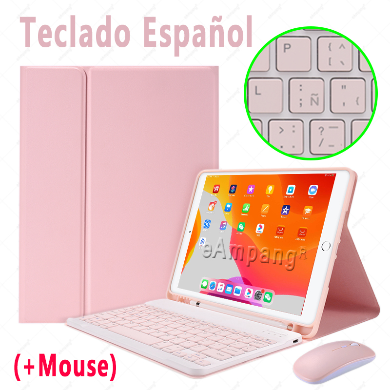 Spanish with Mouse Brown Keyboard Case With Wireless Mouse For iPad Air 4 10 9 2020 4th Generation A2324 A2072