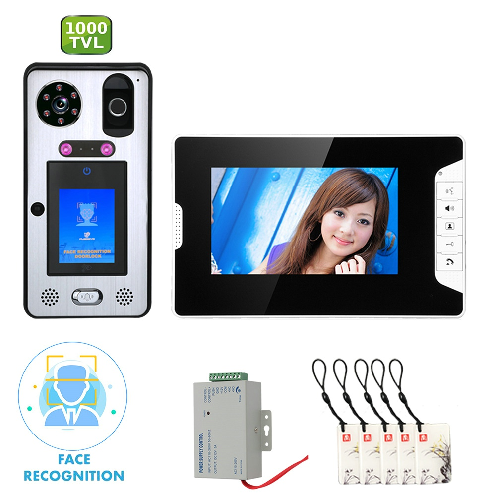 7 Inch  Video Door Phone Doorbell Intercom System With Face Recognition  Fingerprint RFIC Wired  1000TVL Camera