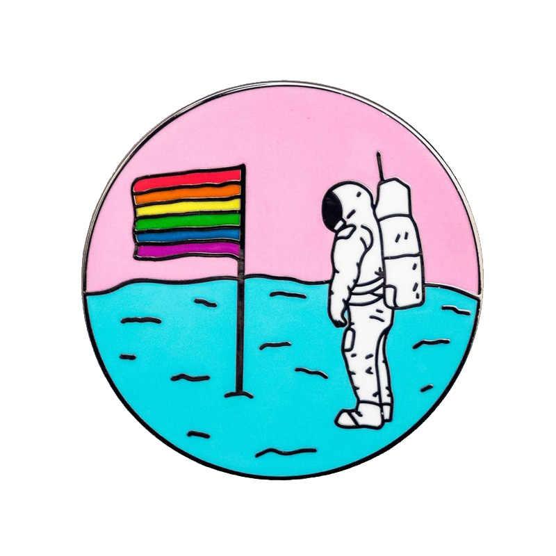 Queer mond pin regenbogen stolz flagge astronaut abzeichen LGBTQ homosexuell trans schöne stolz zubehör