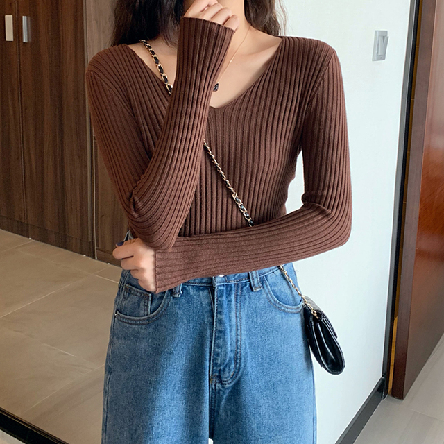 2021 Basic B-neck Solid Autumn Winter Pullover Women Female Knitted Ribbed Sweater Slim Long Sleeve Badycon High Quality Sweater 4