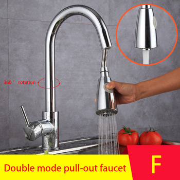 European-style copper pull-out hot and cold multifunctional kitchen faucet household with side sprayer