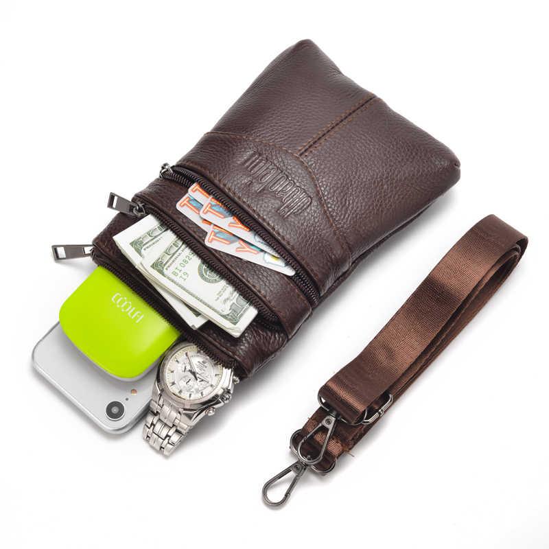 Nieuwe Mannen Lederen Schoudertas Business Casual Eerste Laag Koeienhuid Mobiele Telefoon Tas Multifunctionele Kleine Messenger Bag Mannen tassen