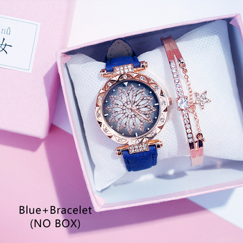 Casual Women Romantic Starry Sky Wrist Watch bracelet Leather Rhinestone Designer Ladies Clock Simple Dress Gfit Montre Femm - Blue And Bracelet