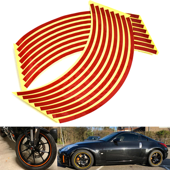 Car motorcycle Tire Rim Stickers 17-19 Reflective Car-Covers Tape Wheel Tyre Sticker Automobile Decors for Yamaha kawasaki BMW image