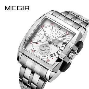 Image 2 - MEGIR オリジナルの高級メンズ腕時計ステンレス鋼メンズクォーツ腕時計ビジネスビッグダイヤル腕時計メンズレロジオ Masculino