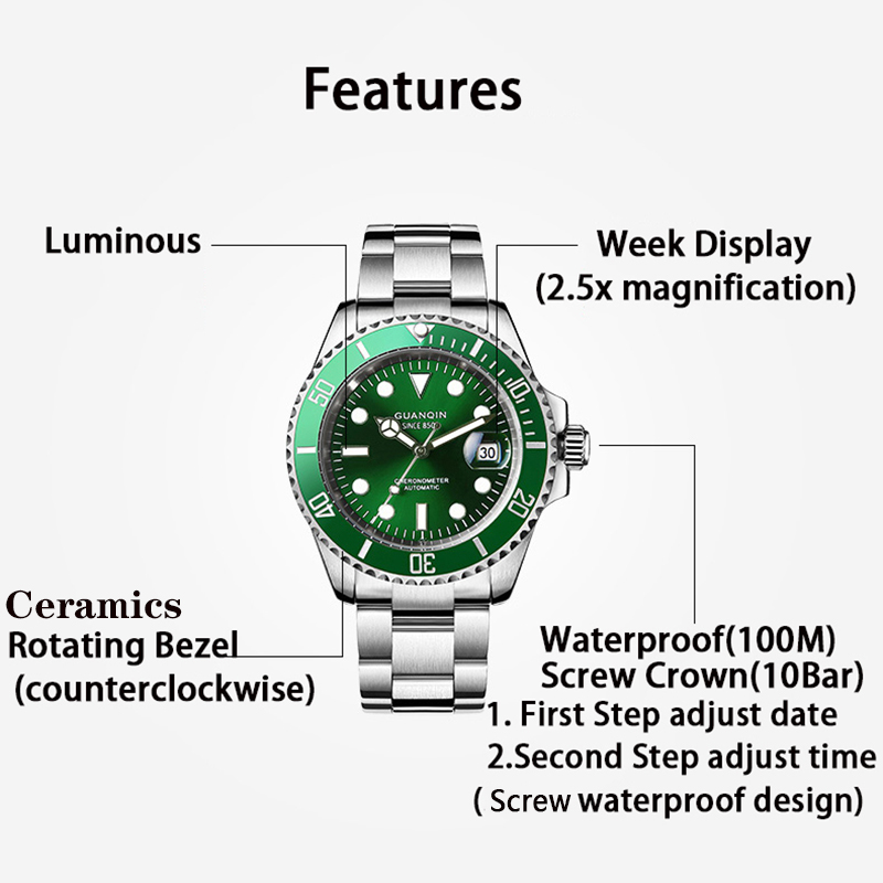 GUANQIN Mechanical Watch  Japan Movement waterproof men watch Automatic clock Top luxury ceramic men Sapphire Relogio Masculino