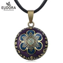 Eudora Enamel Craft Harmony Pregnancy ball Necklace Pregnancy bola ball pendant with 6 petal Flower Luxury Jewelry for Women mom chic rhinestone petal flower necklace for women