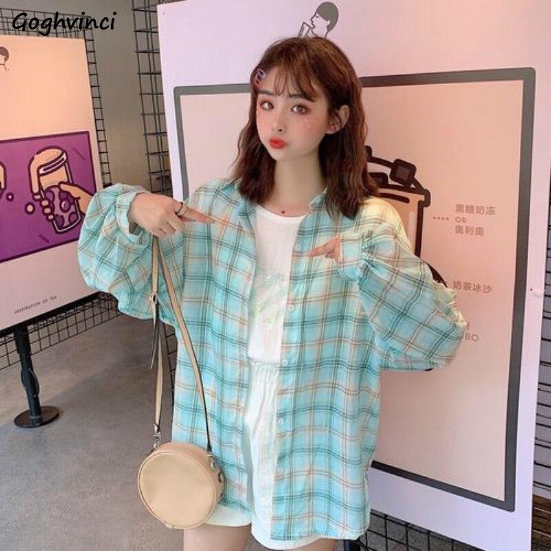 女性ブラウスロングシャツ春ターンダウン襟チェック柄韓国スタイル薄型色あせしないシックな女の子生き抜くすべてマッチ緩い通気性